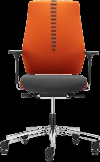 orange off black chair